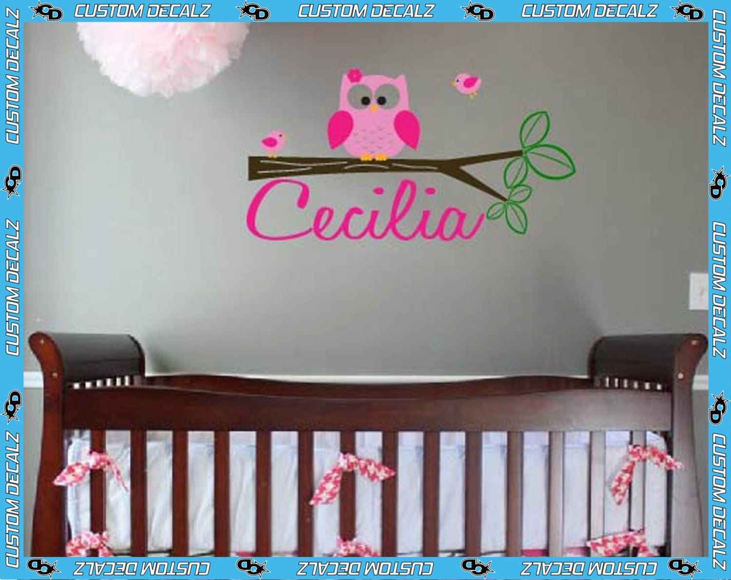 Owl wall decal with personalized name vinyl wall by customdecalz