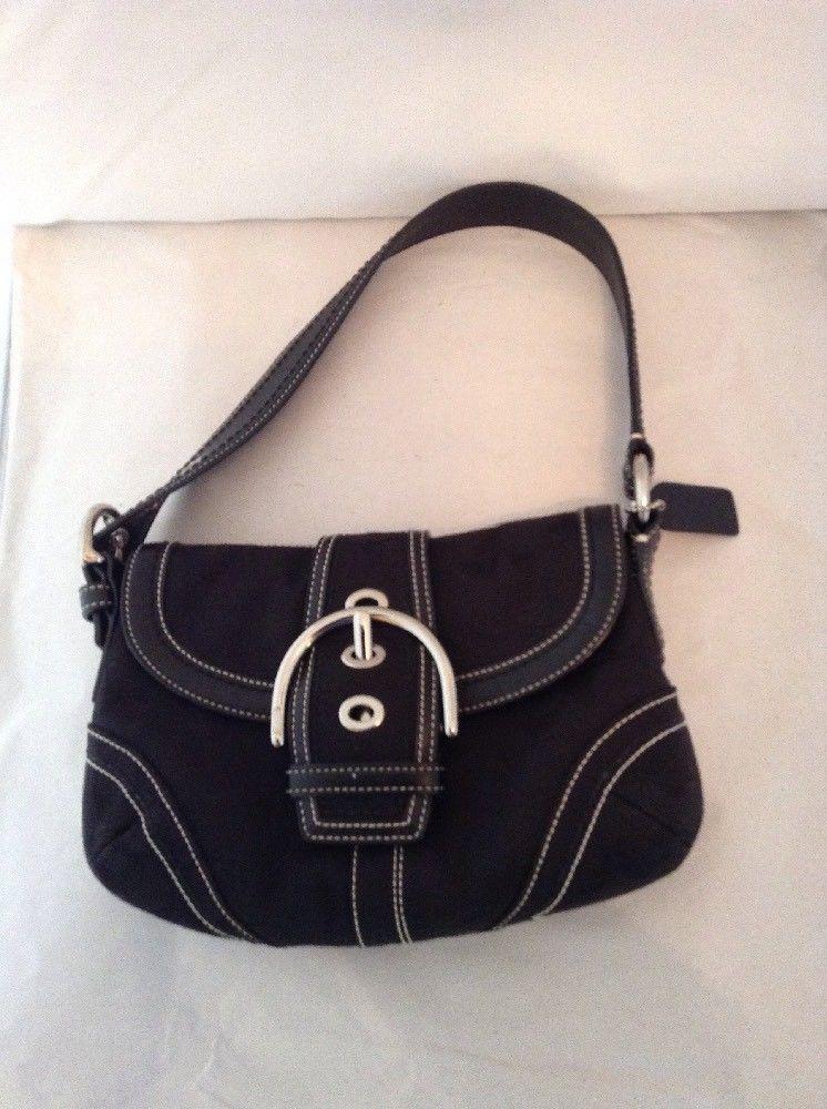 COACH Black monogram Shoulder Bag Purse Buckle Handbag  Coach  ShoulderBag 21d537a38b916