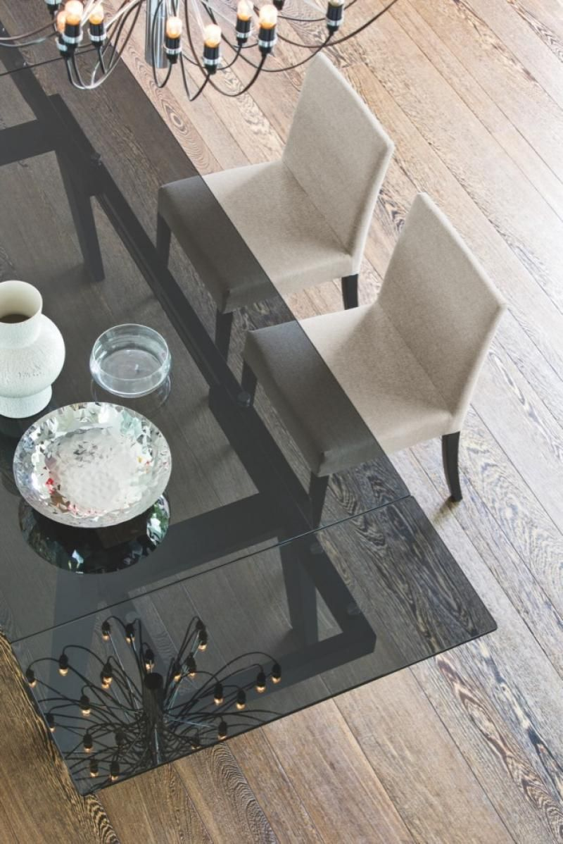 Maestro, Smoke Glass Dining Table With Graphite, Walnut Or Wenge Wood  Veneer Legs By