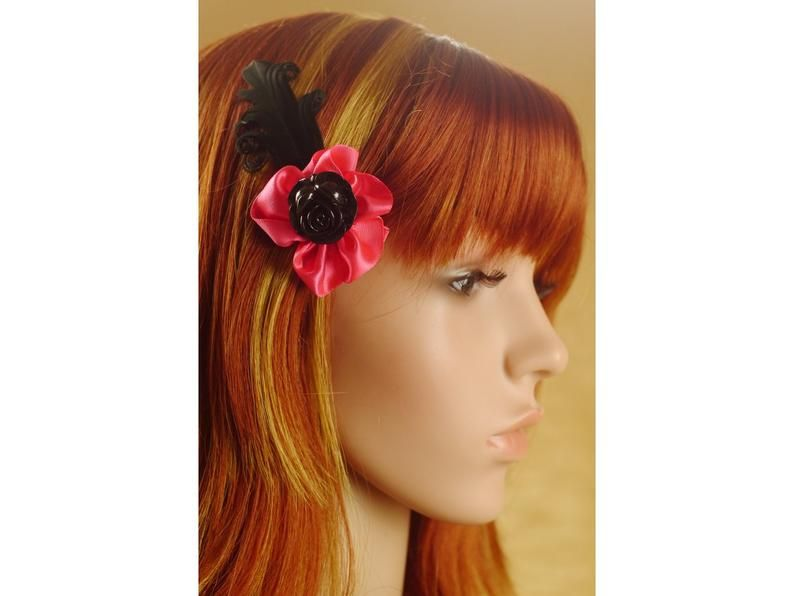 Cool Hair clip in pink Gothic Style for Lolitas (mit
