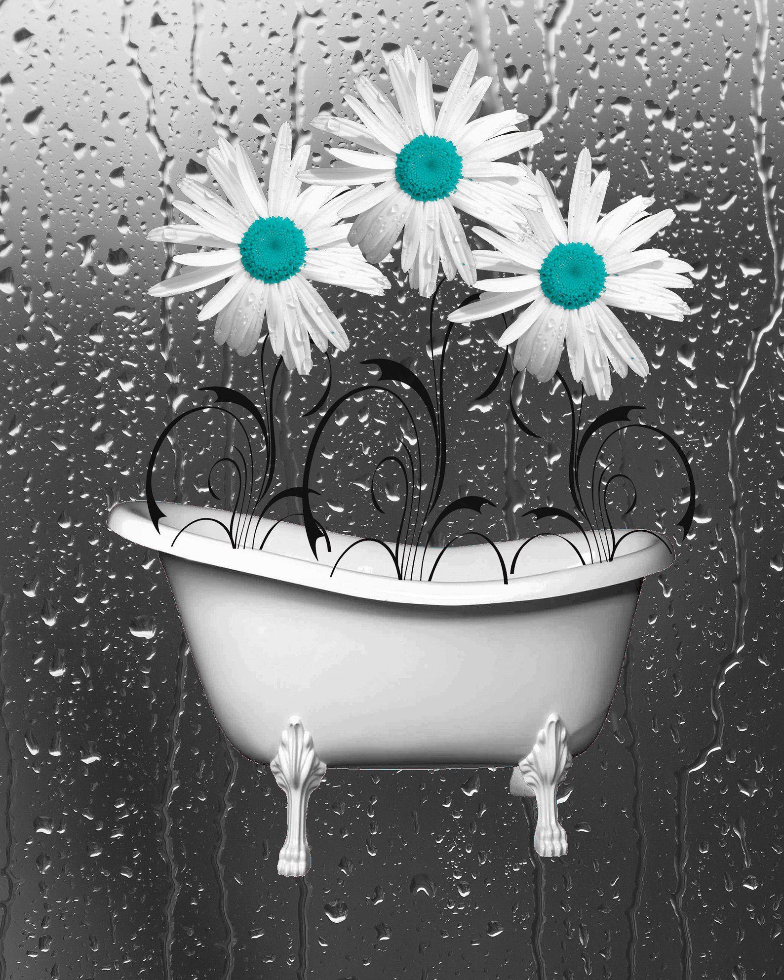 teal gray bathroom wall art daisy flowers raindrops on bathroom wall decor id=80841