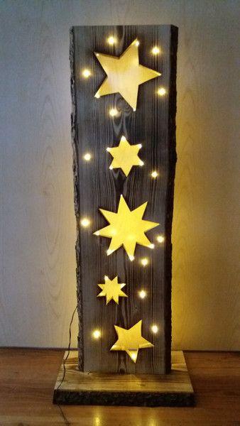 Deko-Objekte - Holzbrett mit Sterne + LED-Beleuchtung ...