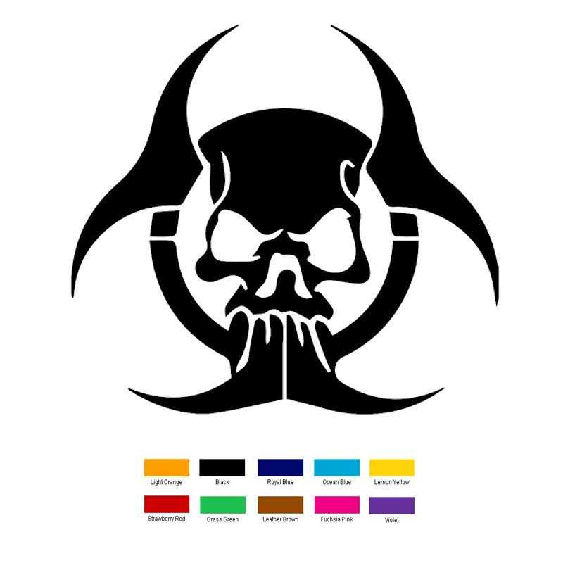 15cm x 15cm radioactive biohazard zombie skull car sticker for truck window bumper auto suv door