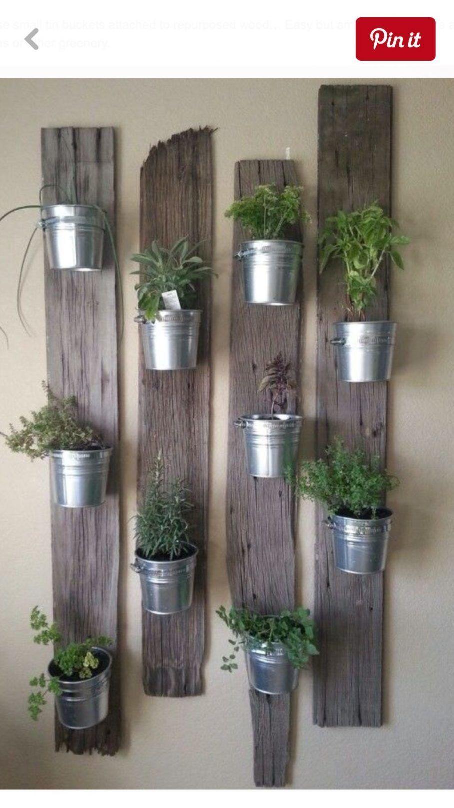 uneven wood panels and metal pails for indoor herb planter on indoor herb garden diy apartments living walls id=85921