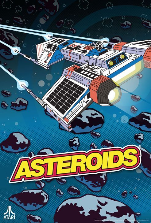 Vintage Atari Art Poster 2 Sided Asteroids Combat Two Arcade Game Man Cave