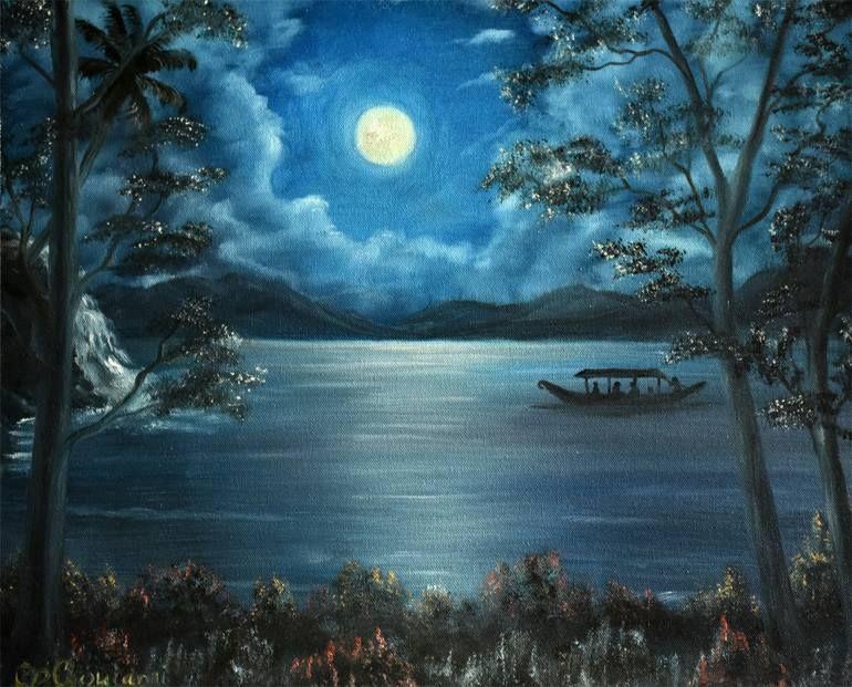 2020 的 Original Landscape Painting By Goutami Mishra Photorealism Art On Canvas Full Moon Night 主题