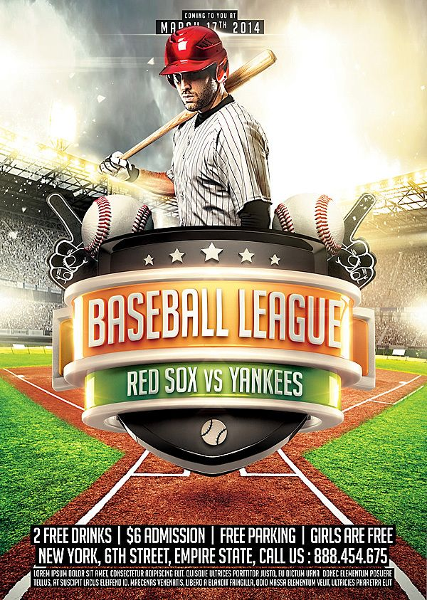 Collection of Sports Flyer Templates by Ali Rahmoun, via Behance - baseball flyer