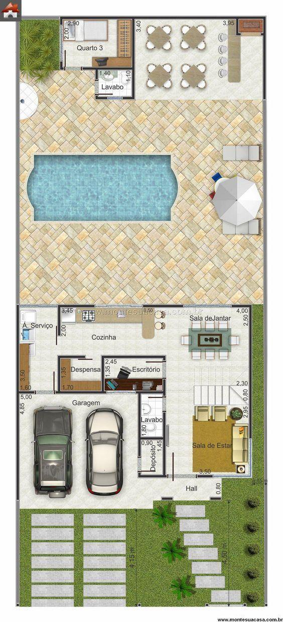 Planta de Sobrado - 3 Quartos - 12782m² - Monte Sua Casa - Plan De Maison En 3d