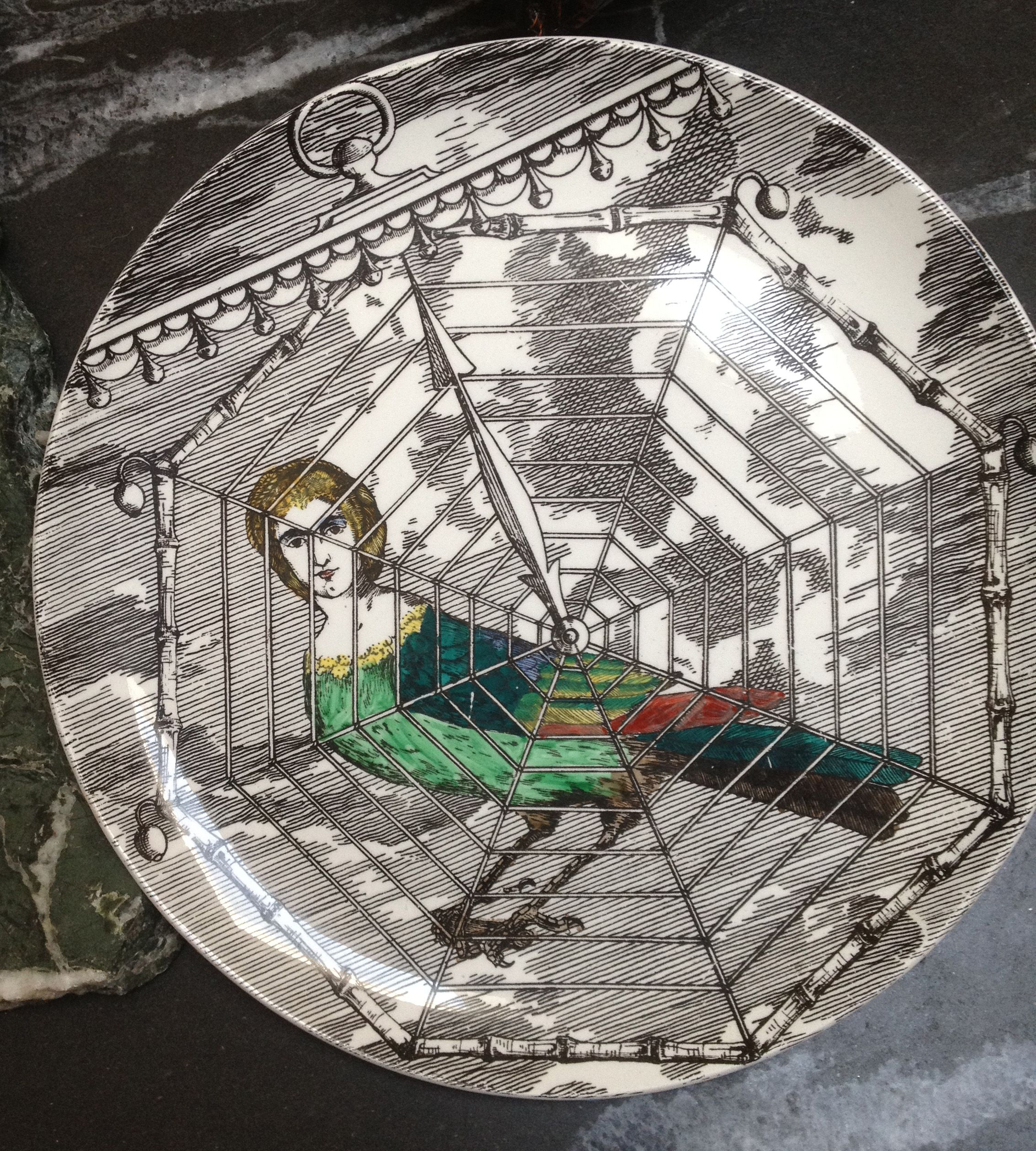 "1950's Fornasetti Harpy Plate ""Le Harpie, Gentile."" Hand numbered #6"