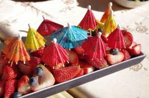 Fun Easy Way to Spruce up the fruit platter at your next brunch or birthday party.