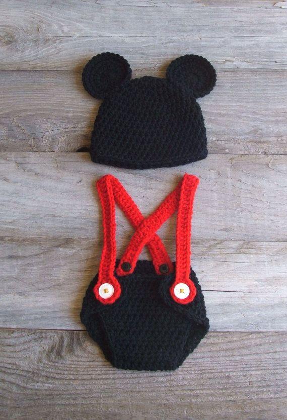 Mickey outfit | haken voor baby\'s | Pinterest | Babys, Häkeln und ...