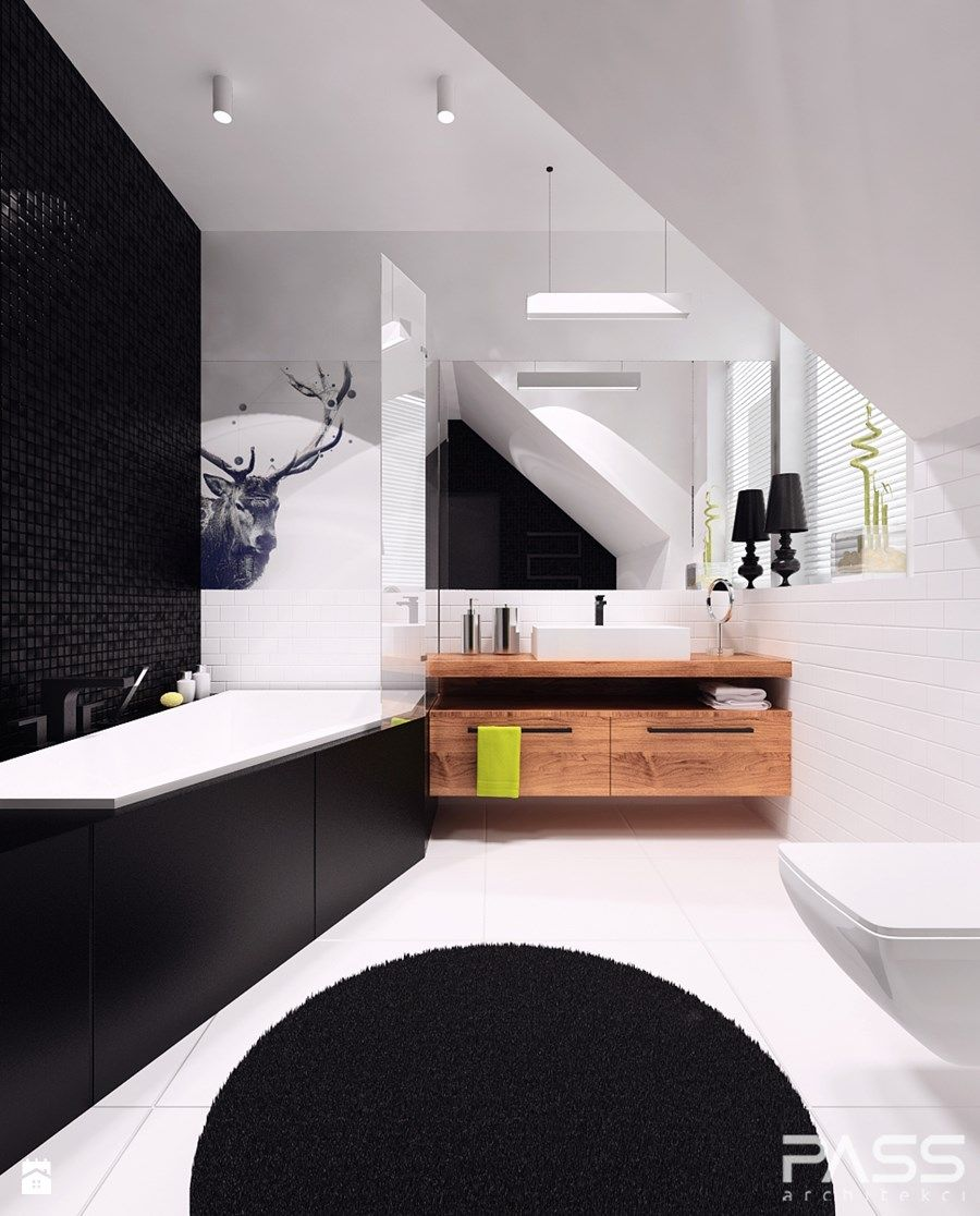 Projekt 11 Duża łazienka Na Poddaszu W Domu Jednorodzinnym