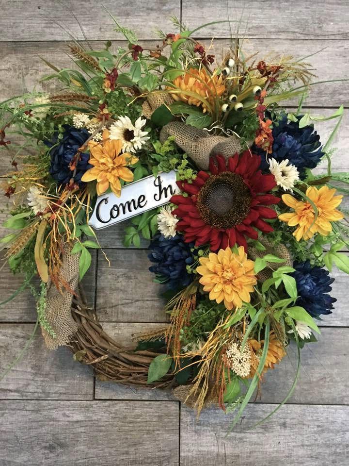 Photo of Farmhouse Decor, Office Decor, Fall Front Door Wreath, Wreath for Office Door, Boutique Decor, Business Decor, Welcome Wreath, Autumn Wreath