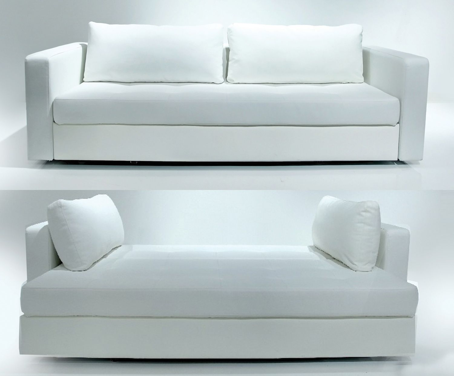 Bifold Sliding Leather Sofabed White Sofa Bed Contemporary Furniture Stores Small Size Sofa