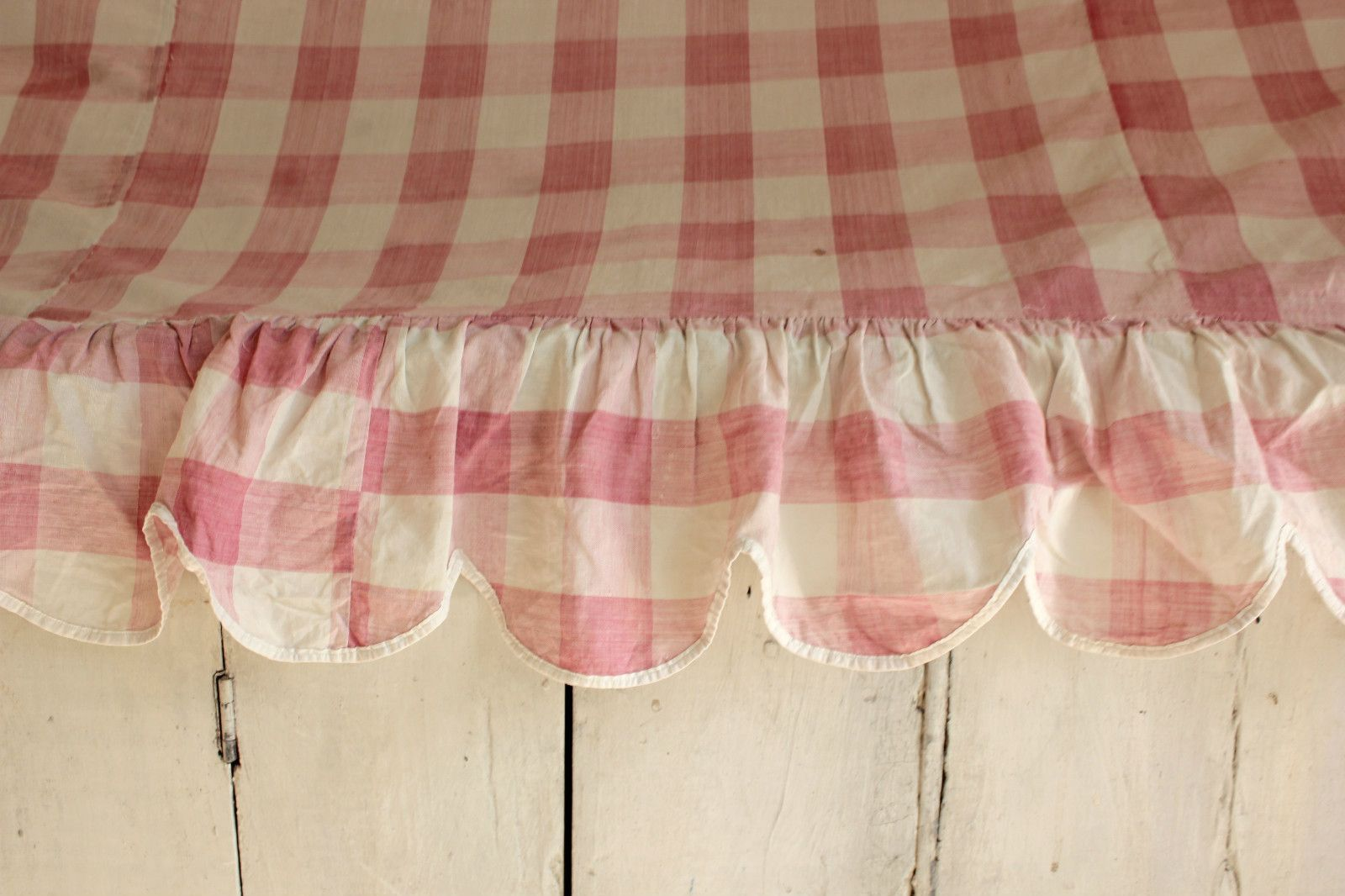 Gingham Shabby Chic Valance French Antiques