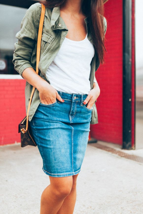 4193dca8c3 Denim skirt to transition into fall. Love the pairing with white tee and olive  jacket