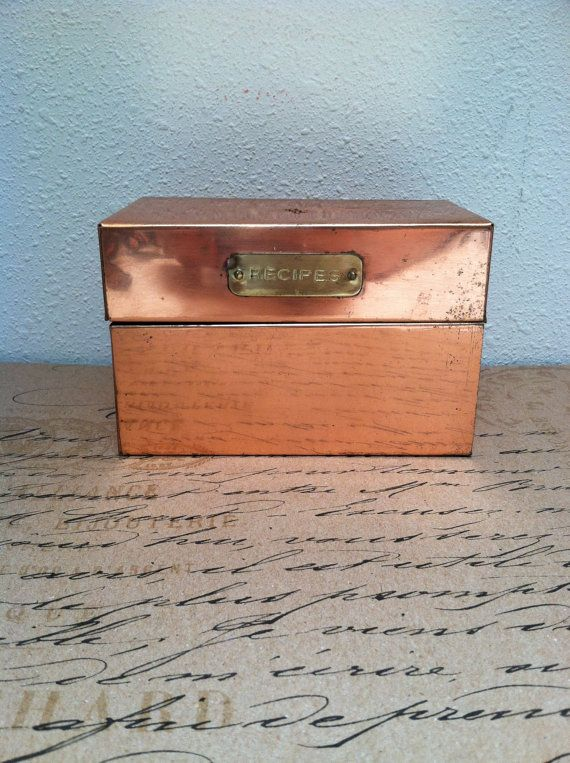 Decorative Recipe Boxes Adorable Copper Recipe Box  Decorative Kitchen Card Tin  Copper Inspiration