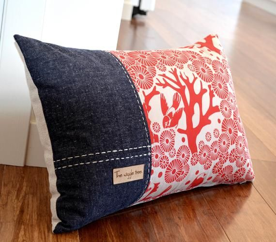 Items Similar To Mikko 3 Panel Red Mikko Cushion Cover With Organic Cotton Hemp Denim On Etsy