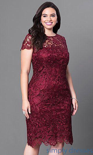 Plus Size Short Lace Party Dress With Sleeves Vestidos De