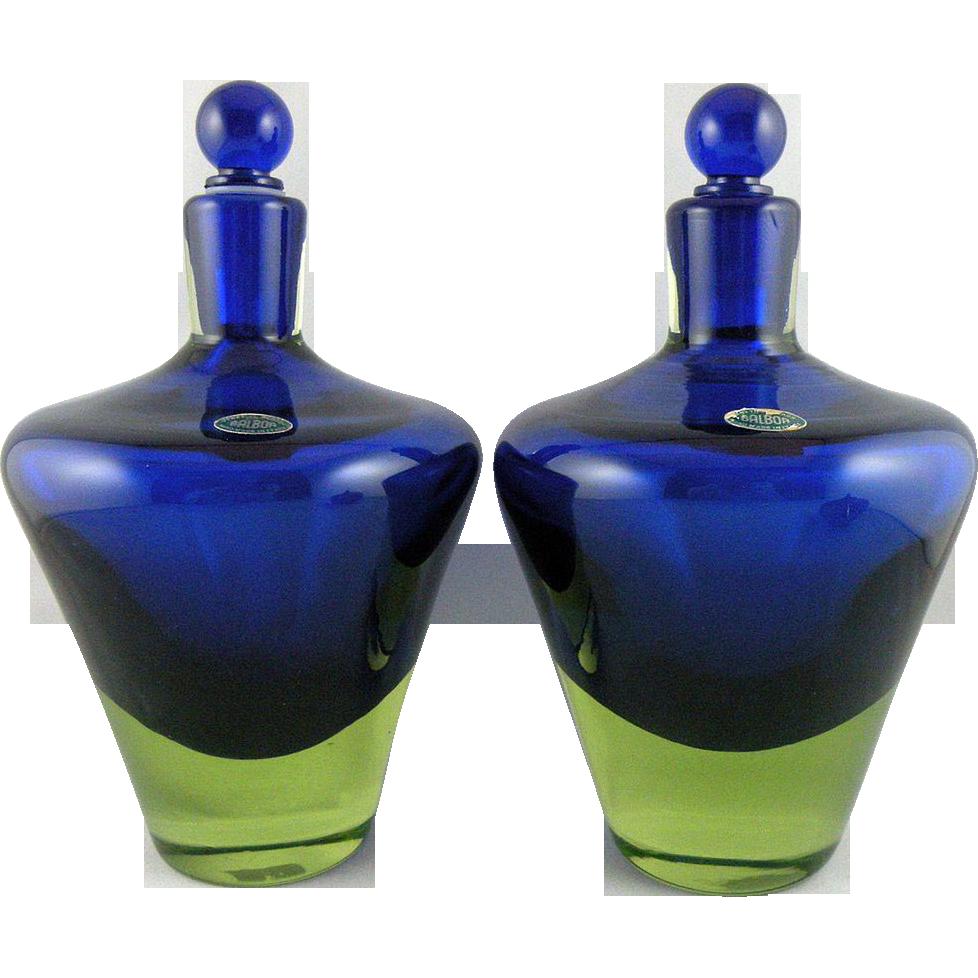 Cenedese murano cobalt uranium glass bottles designed by antonio glass floridaeventfo Image collections