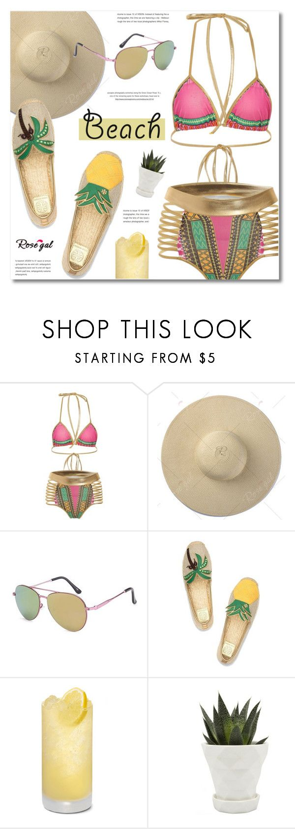 """""""Sun's Out: Beach Day; Rosegal"""" by defivirda ❤ liked on Polyvore featuring Tory Burch, Chive and beachday"""