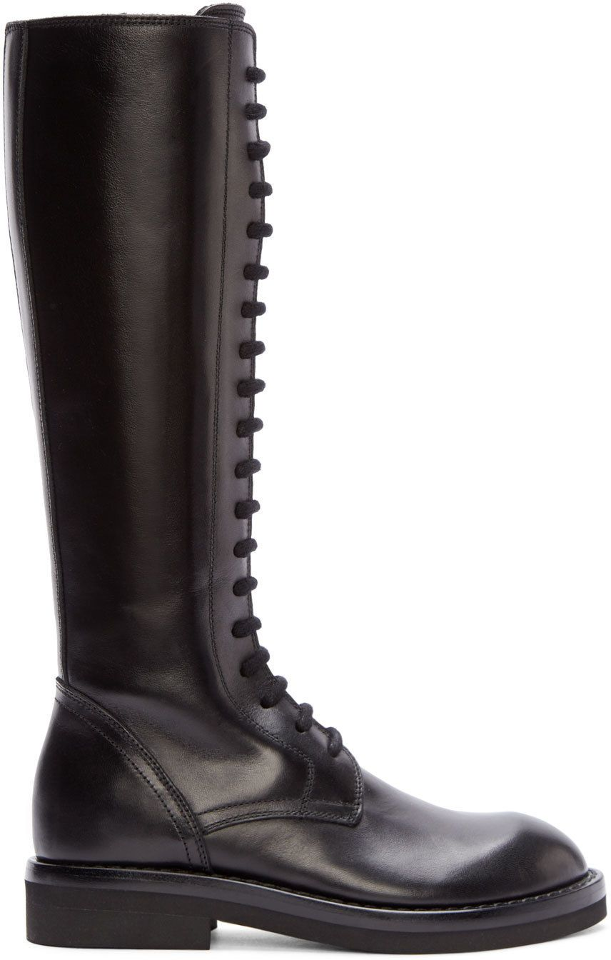 Ann Demeulemeester Black Tall Lace-Up Boots 4N9UO