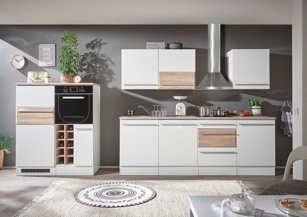 Details zu Küche Küchenzeile Küchenblock weiss matt   Sonoma Eiche - komplett küchen mit elektrogeräten
