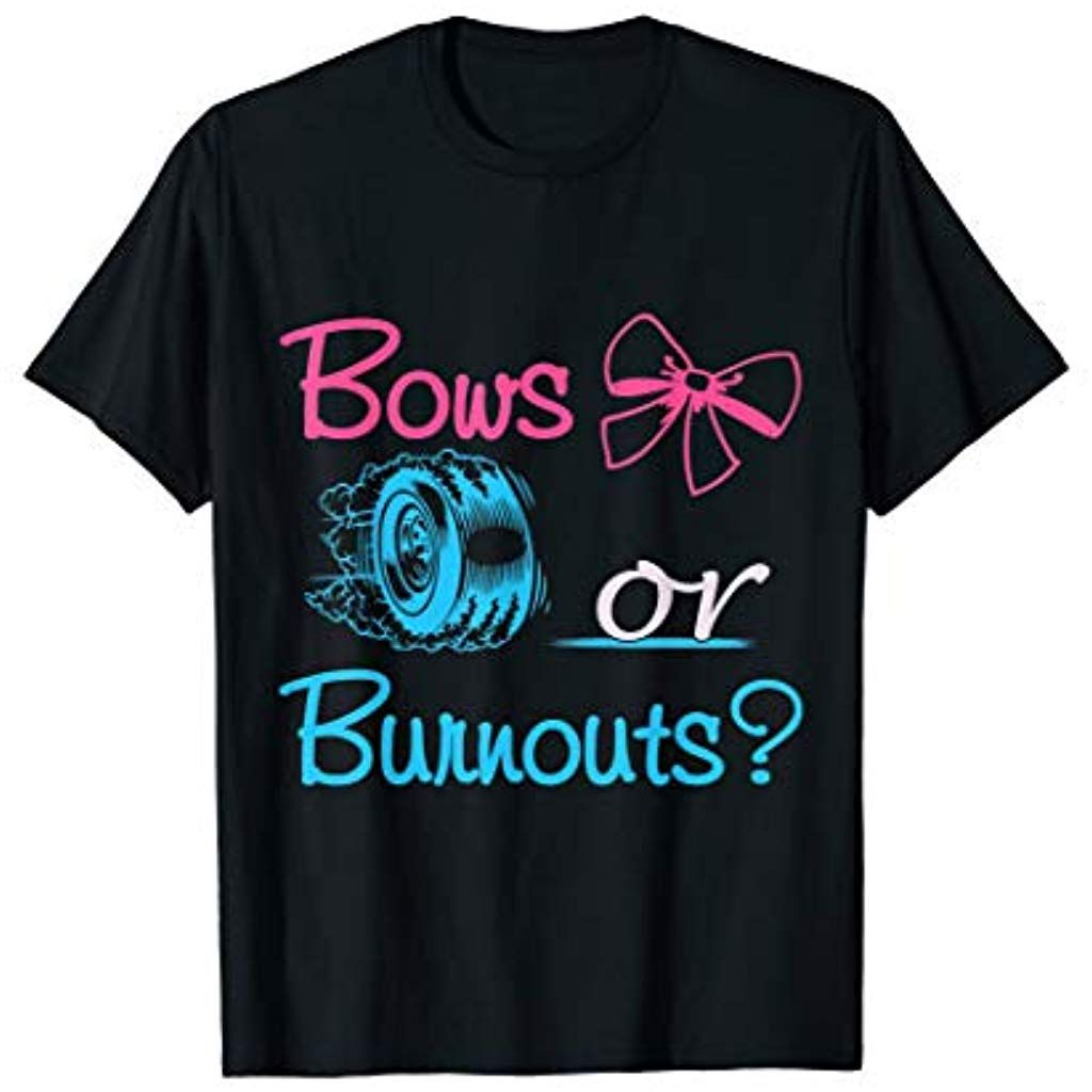 Family tee bows or burnouts gender reveal party gift idea