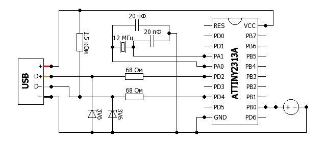 Arduino attiny85 схема