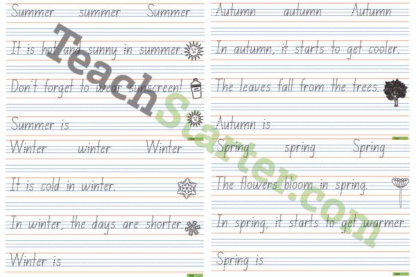 All Worksheets nsw foundation handwriting worksheets free : Handwriting sheets about the seasons. | Handwriting Tips ...