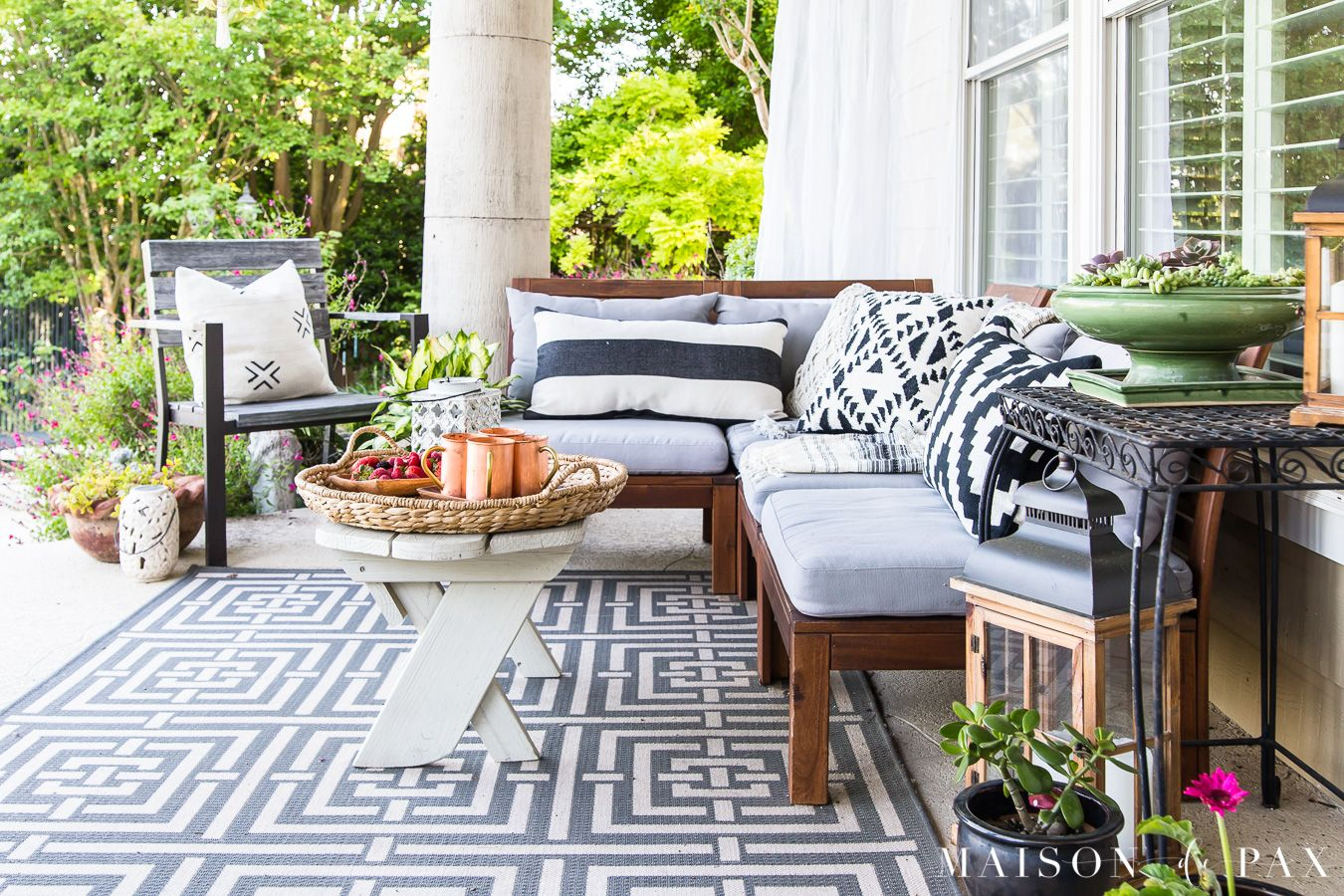 Summer Porch Decor Ideas Ferns And Succulents Maison De Pax Summer Outdoor Decor Summer Porch Decor Summer Patio Decor