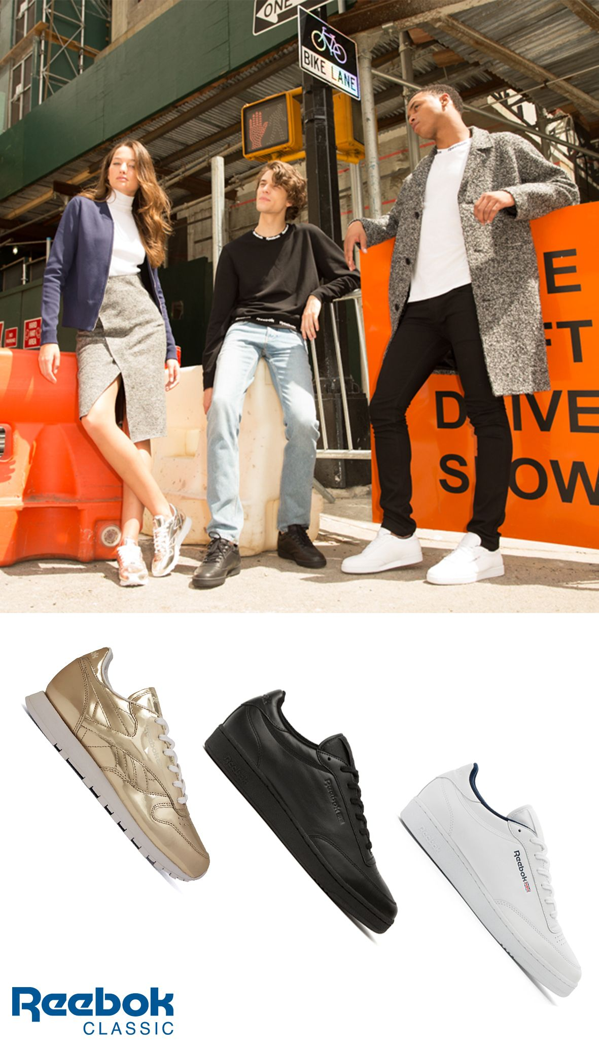 c1073c4a576c Simple yet sophisticated city fashion. The Reebok Classic X Sandro  collection features gold Classic Leather shoes for women and the Club C  men s sneaker in ...