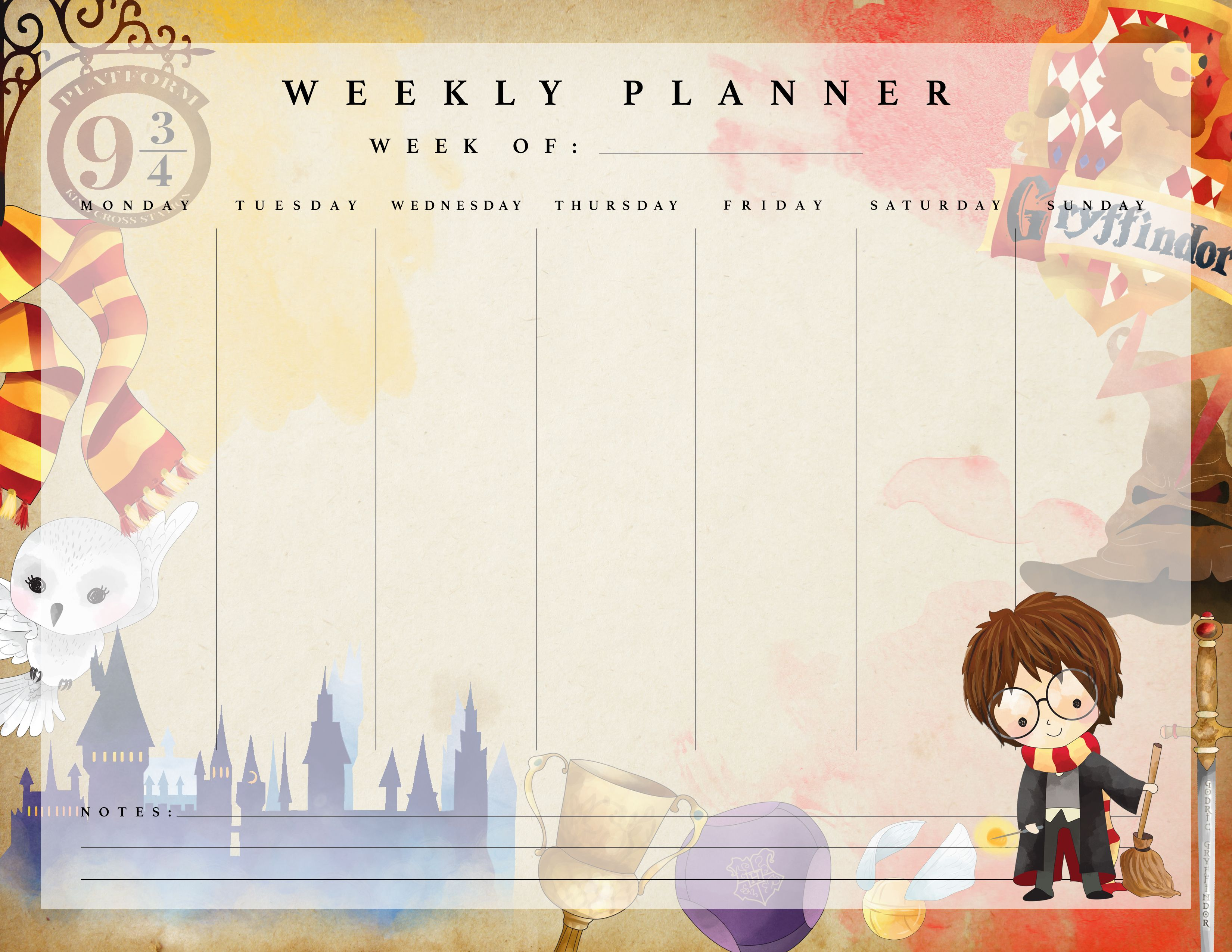 Free Printable Harry Potter Weekly Planner The Cottage Market Harry Potter Planner Harry Potter Printables Harry Potter Free