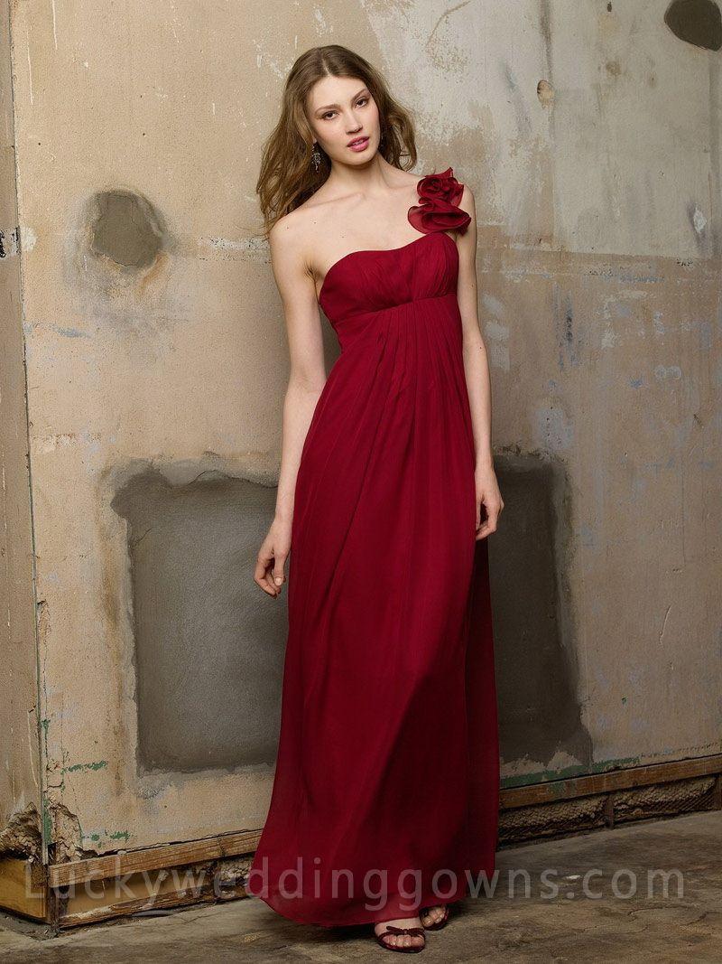 Cranberry chiffon one shoulder long bridesmaid dress bridemaid