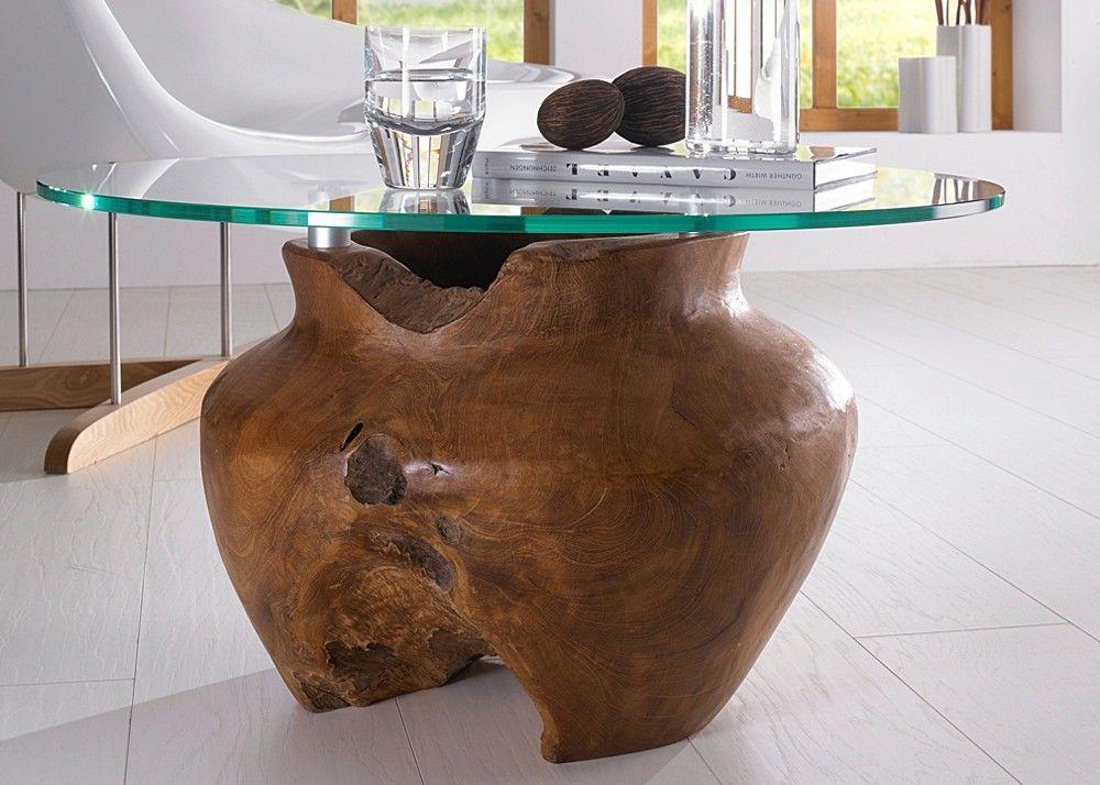 Couchtisch mit Gestell aus Teak Massivholz in Vasenform Unikat - couchtische massivholz rotsen