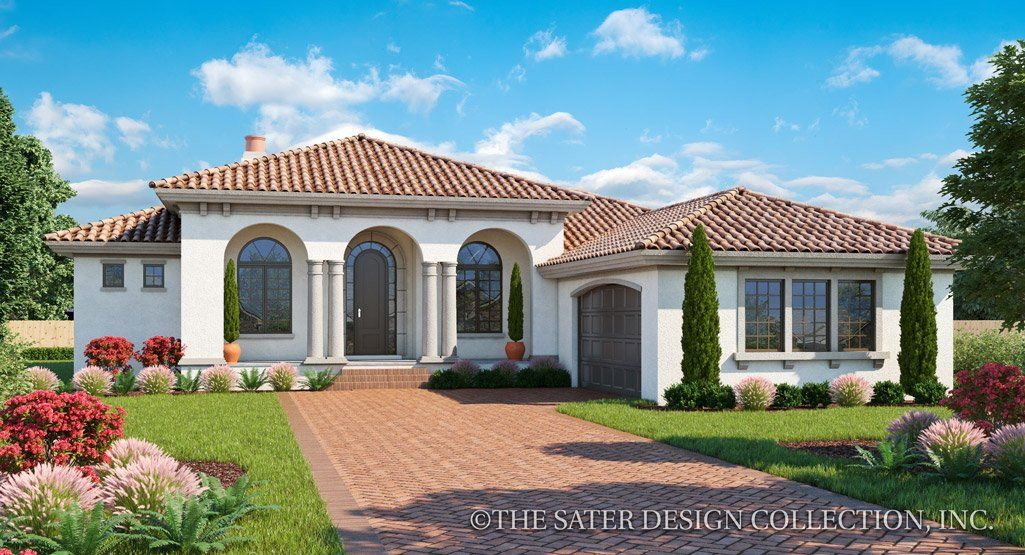 The Exterior Styling Of The Verago Home Plan Is Elegant And Refined Houseplan Mediterranean Style House Plans Mediterranean Homes Mediterranean House Plans