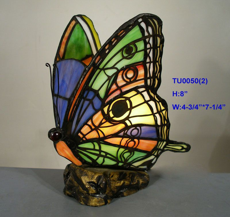 **LIMITED* TIFFANY STYLE STAINED GLASS BUTTERFLY LEADLIGHT TABLE LAMP NITE  LIGHT