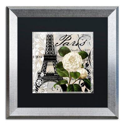 "Trademark Art 'Paris Blanc I' Framed Graphic Art Mat Color: Black, Size: 16"" H x 16"" W x 0.5"" D"