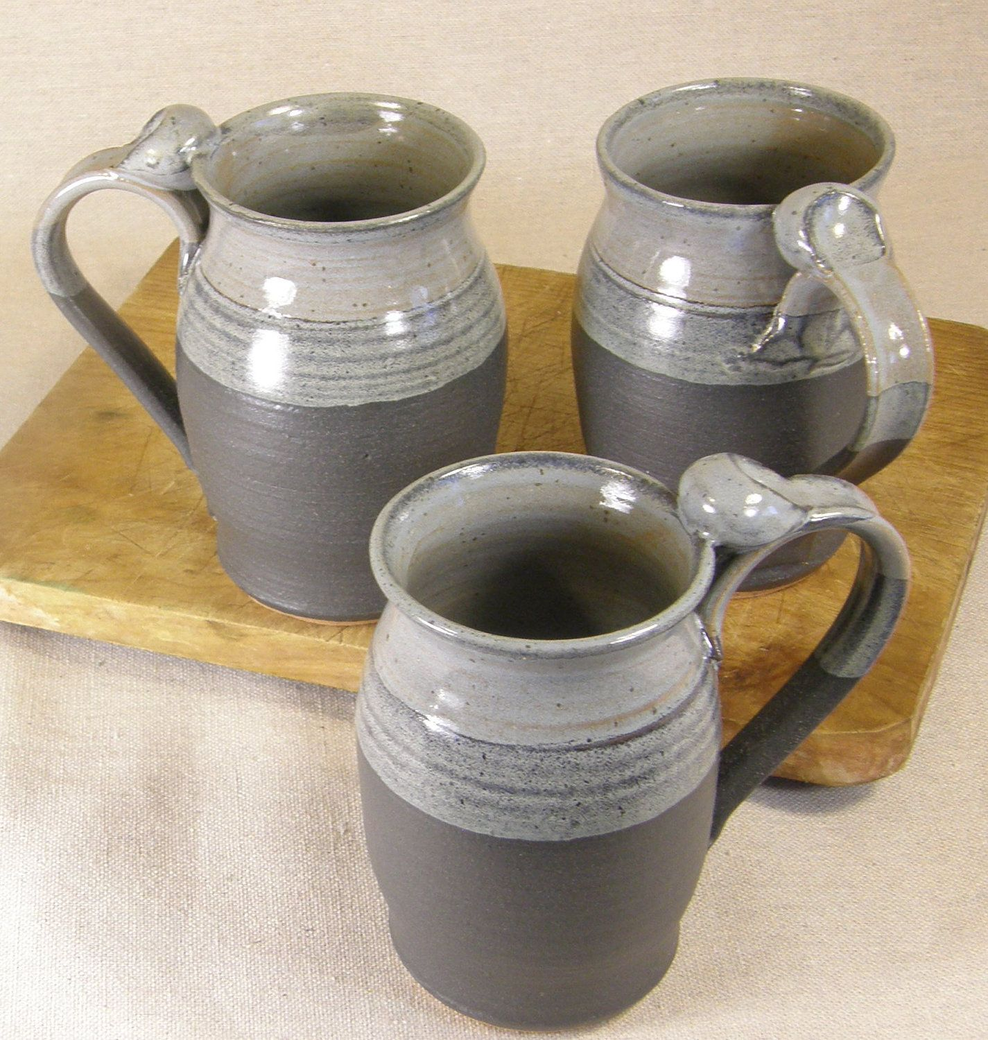 Stoneware Ceramic Pottery Mugs Reminds Me Of Old