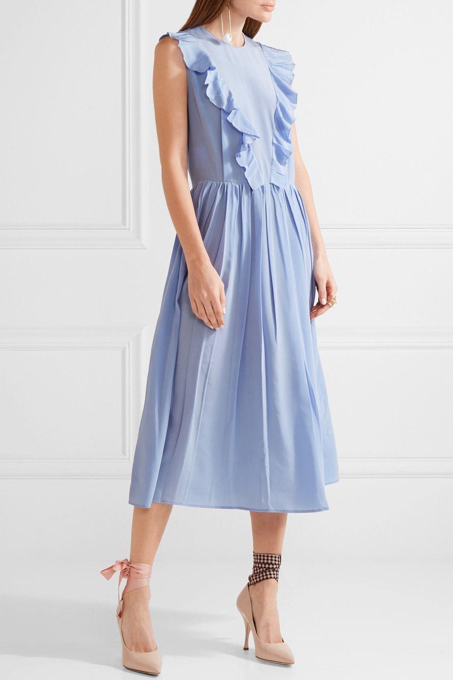 5c4739287d9 Miu Miu - Ruffled silk crepe de chine midi dress