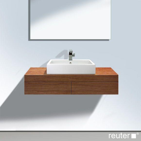 duravit fogo konsole mit 2 schubk sten und 1 ausschnitt mittig amerikanischer nussbaum. Black Bedroom Furniture Sets. Home Design Ideas