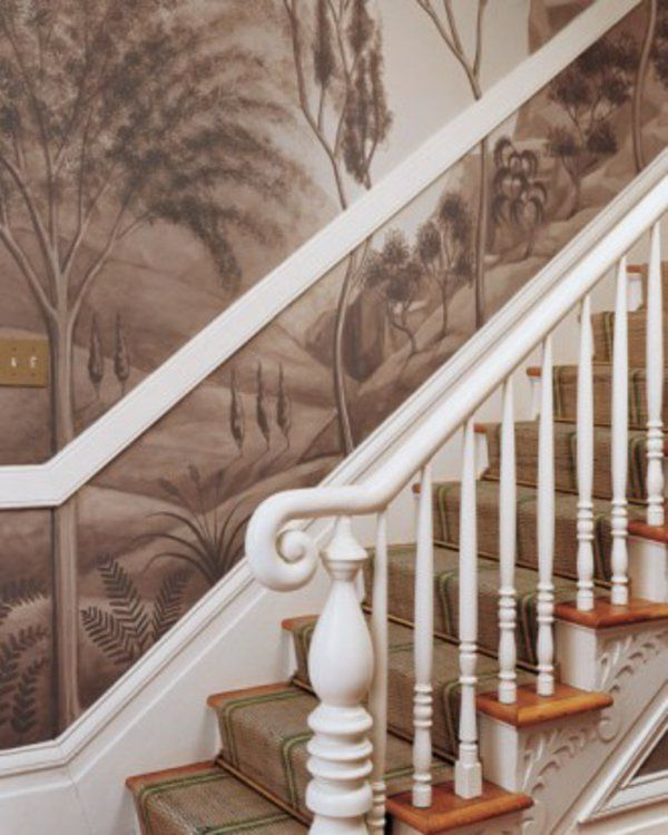 sepiagetönt Wandgestaltung mit Farbe wandfarben ideen treppe - treppen wand gestalten