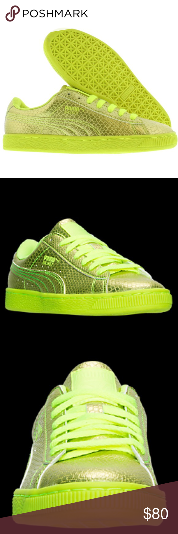 c18d14fba0f Rare Puma Creeper Basket Rihanna Sneakers 8.5BNWOB Super cute and vibrant Puma  Sneakers! Stand out with these gold neon yellow (highlighter yellow) Pumas!