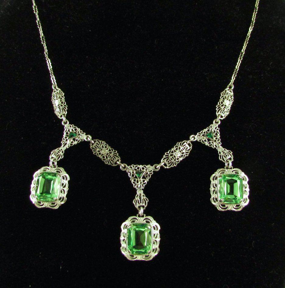 Authentic 1920 S Art Deco Sterling Triple Vaseline Glass Drop Filigree Necklace Art Deco Rhodium Plated Sterling Deco Jewelry Art Deco Jewelry 1920s Art Deco