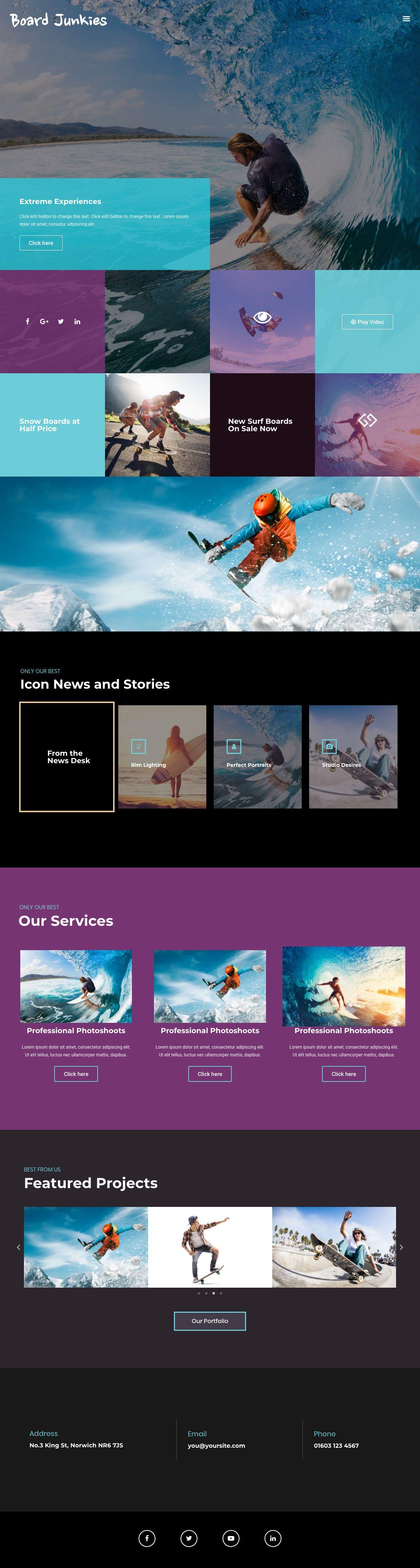 Web And App Design Website For Surfing Shop Home Page Template Conceptual Wordpress Website Paginas Web Creativas Surf Pagina Web