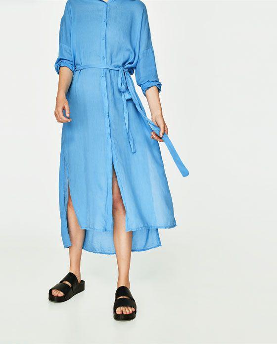 05fef26a Bilde 3 fra LANG SKJORTEKJOLE fra Zara | Go store. | Dresses, Long ...