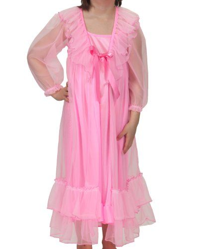 fc14537da5 Amazon.com  Laura Dare Toddlers Short Sleeve Peignoir Night Gown and Robe  Set with Scrunchie  Clothing