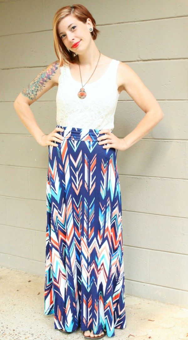 Jordie Abstract Chevron Print Maxi Skirt Renee C Stitch FIx - love ...