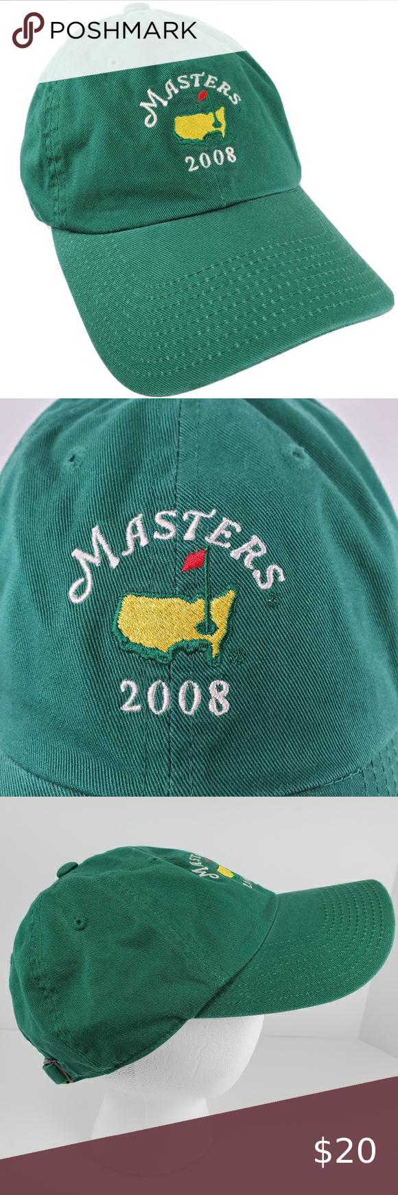 Pga Masters Golf Hat Adjustable Cap Green 2008 Golf Hats Pga Masters Masters Golf