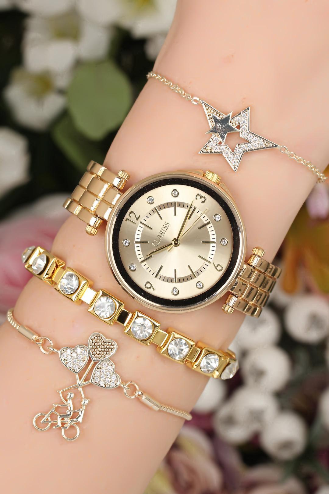 Metal Kordonlu Clariss Marka Bayan Saat Bileklik Kombini Bayan Saatleri Bileklik Metal
